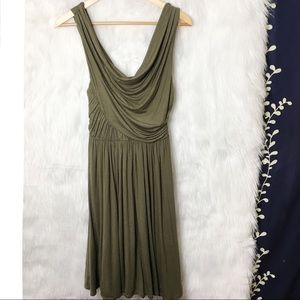 Anthro Deletta Olive Green Ruched Knit Dress
